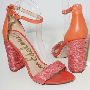 Sam Edelman Yoana Woven Sandals Ankle Strap Red